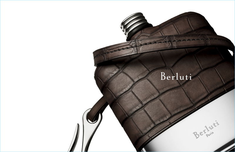 Berluti showcases its alligator leather covered flask for its fall-winter 2017 campaign.