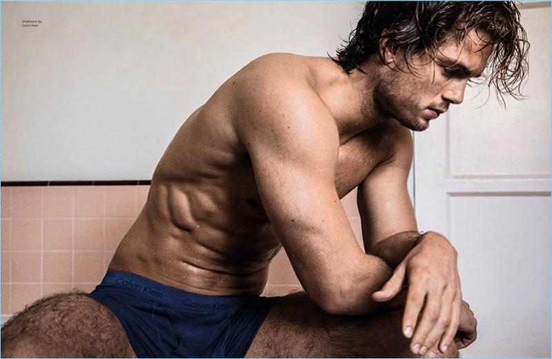 Appearing in a photo shoot for Da Man, Chad James Buchanan wears Calvin Klein underwear.