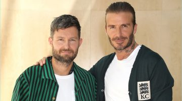 Kent & Curwen creative director Daniel Kearns and David Beckham pose for pictures at the brand's spring-summer 2018 presentation.