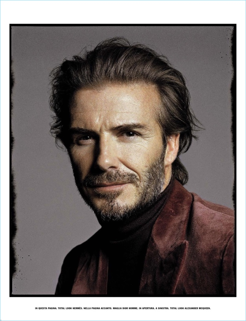 Appearing in a L'Uomo Vogue photo shoot, David Beckham wears Hermes.