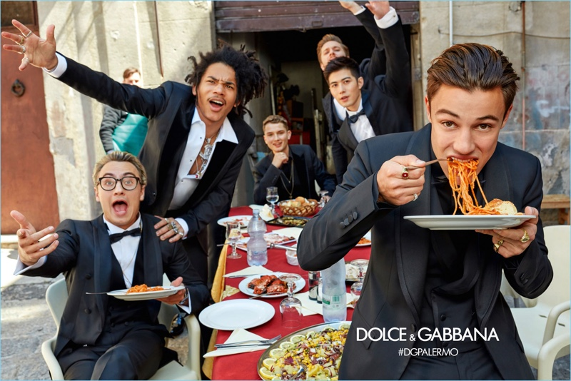 Brandon Thomas Lee, Luka Sabbat, Raffert Law, Tom Farrelly, XueDong Chen, and Cameron Dallas star in Dolce & Gabbana's fall-winter 2017 campaign.