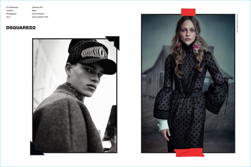 Filip Hrivnak and Sasha Pivovarova front Dsquared2's fall-winter 2017 campaign.