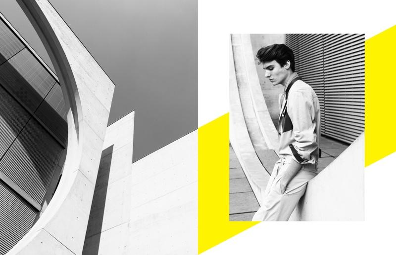 Model Elvis Jarrs wears soft neutrals from Hermès.