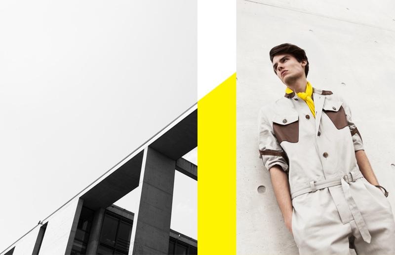 Elvis Jarrs steps into the spotlight, wearing a number by Hermès.