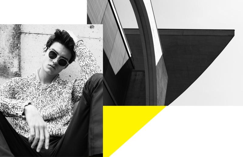 Dennis Weber photographs Elvis Jarrs Elvis Jarrs in a Hermès look with Lunettes Kollektion sunglasses.