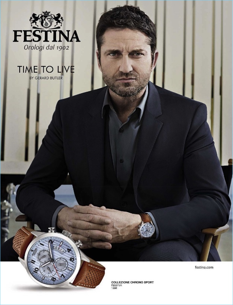 Gerard Butler is front and center for Festina's most recent campaign.