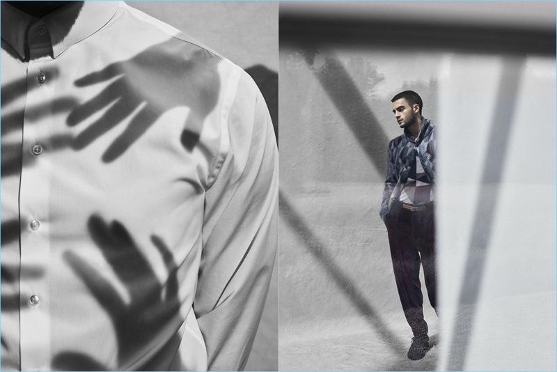 Model Aleksandar Rusic stars in Giorgio Armani's fall-winter 2017 campaign.
