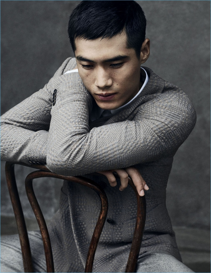 Hao Yun Xiang steals a quiet moment in an image from Giorgio Armani's fall-winter 2017 campaign.