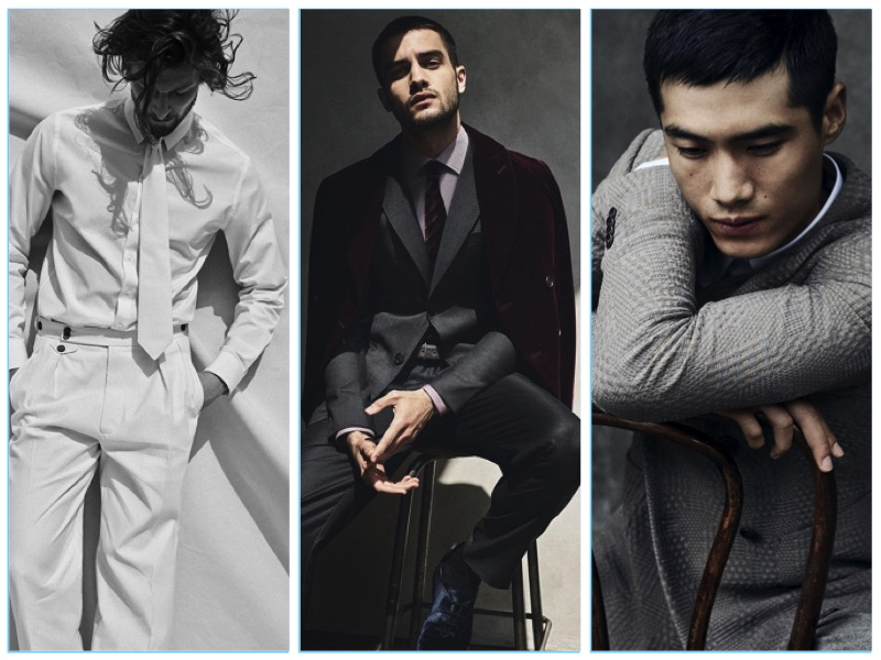 Models Wouter Peelen, Aleksandar Rusic, and Hao Yun Xiang appear in Giorgio Armani's fall-winter 2017 campaign.