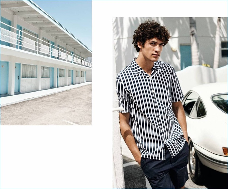 A vision in stripes, Francisco Henriques wears a H&M resort shirt $24.99 and knee-length shorts $29.99.