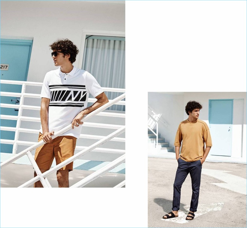 Left: Francisco Henriques wears H&M sunglasses $9.99 with a printed polo $17.99 and chino shorts $17.99. Right: Francisco rocks a H&M short-sleeved sweatshirt $19.99, slim-fit chinos $24.99, and sandals $24.99.