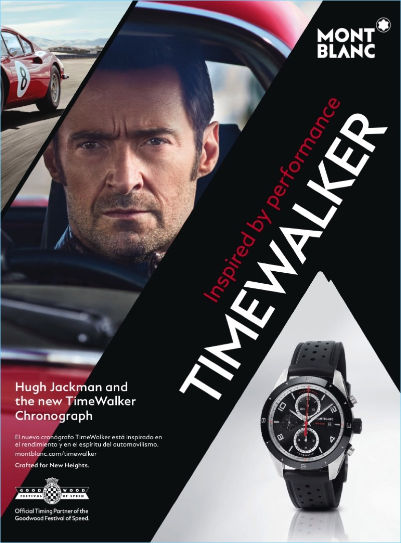 Hugh Jackman gets behind the wheel for Montblanc's snazzy campaign.