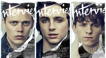 Actors Bill Skarsgård, Timothée Chalamet, and Tom Holland cover the June/July 2017 issue of Interview magazine.