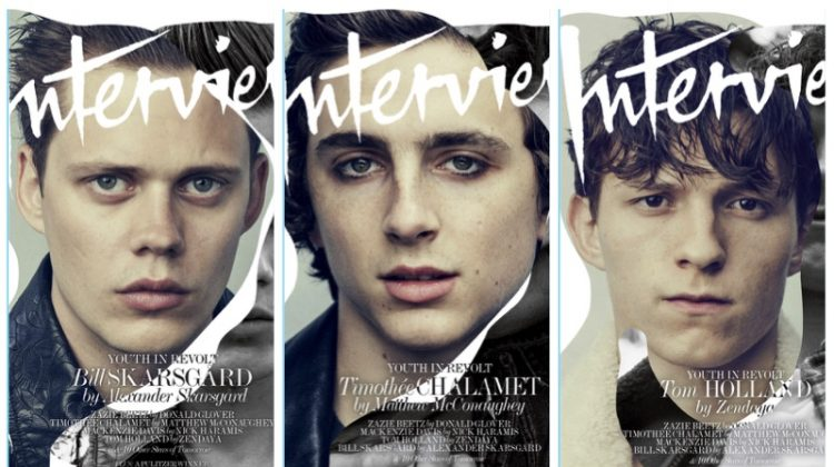 Tom Holland, Bill Skarsgård & Timothée Chalamet Cover Interview Magazine