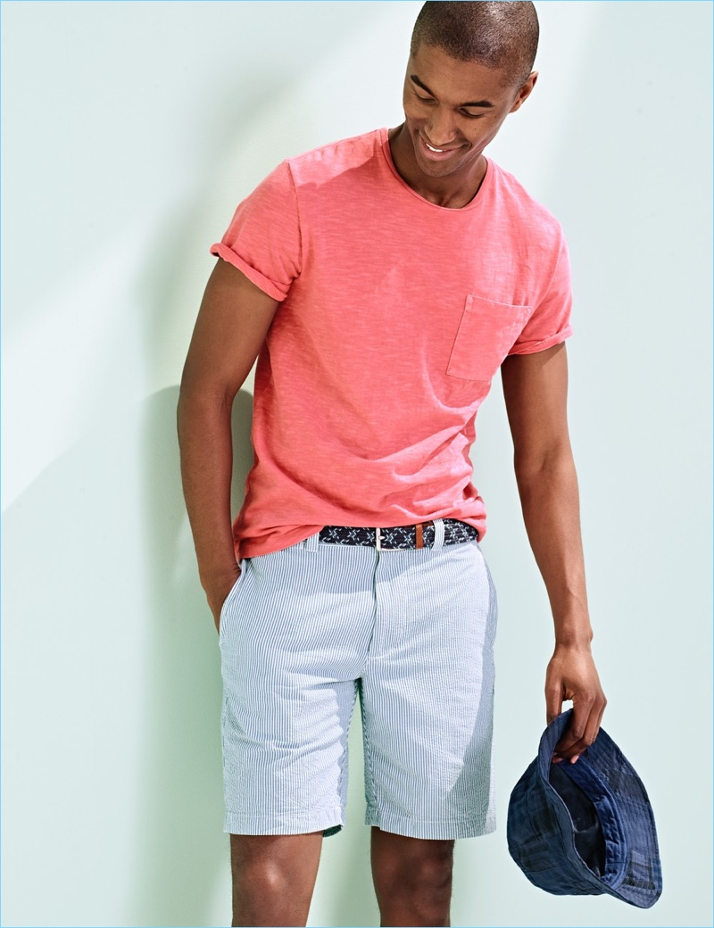 The New Seersucker: Claudio Monteiro sports J.Crew seersucker shorts $75 with a bucket hat $48, and pocket tee $39.50.