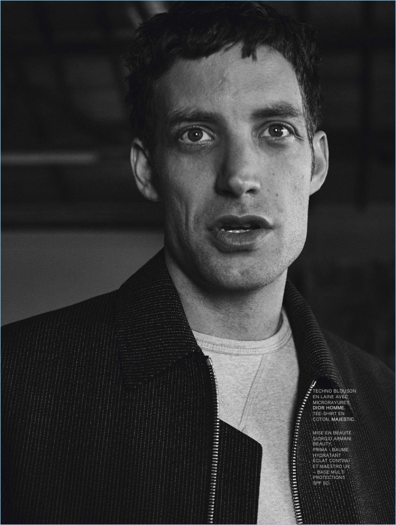 Actor James Jagger wears a blouson jacket by Dior Homme with a Majestic t-shirt.