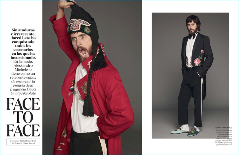 Actor Jared Leto rocks Gucci fashions for the pages of Vogue Hombre.