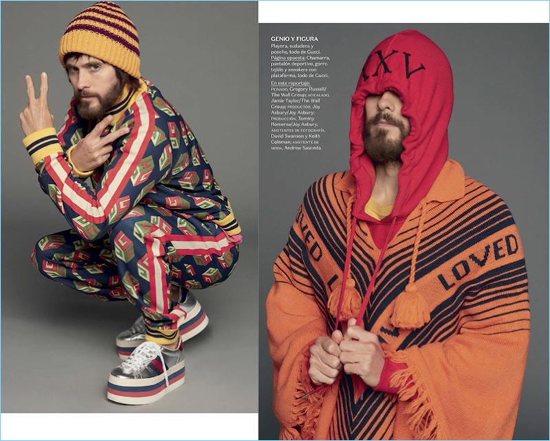 Starring in a new photo shoot for Vogue Hombre, Jared Leto wears Gucci.
