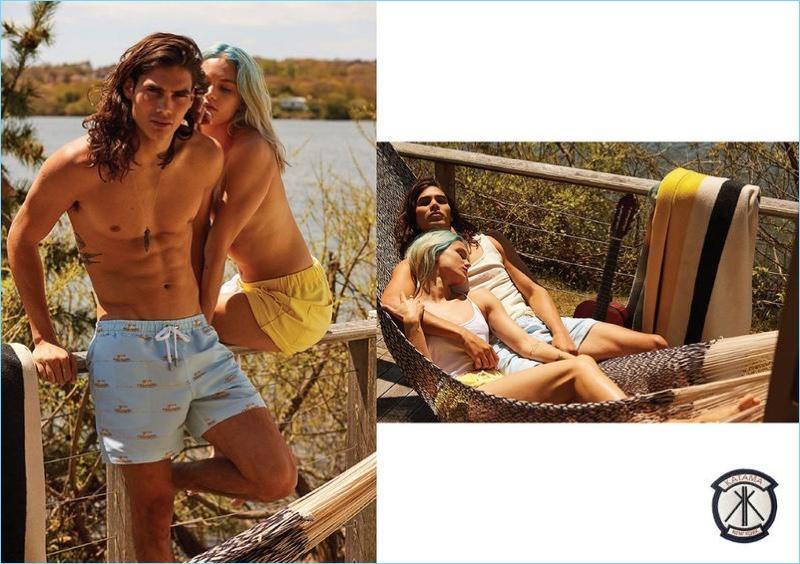 Arnaldo Anaya-Lucca photographs Vito Basso in Katama's Surf Lodge house print swim shorts.