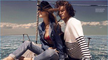 Leo Bruno and Vanessa Chromik star in a nautical themed editorial for Men's Health Italia.