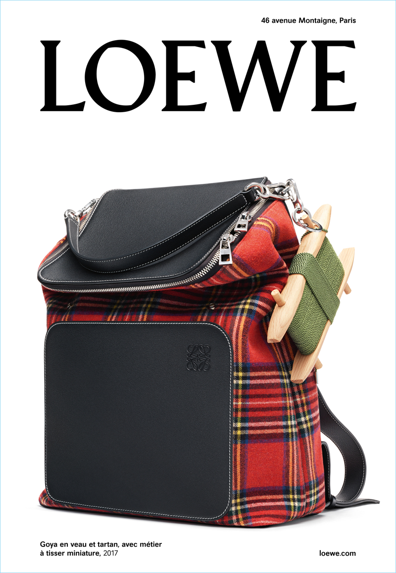 Loewe puts the spotlight on its Goya plaid backpack for its spring-summer 2018 campaign.