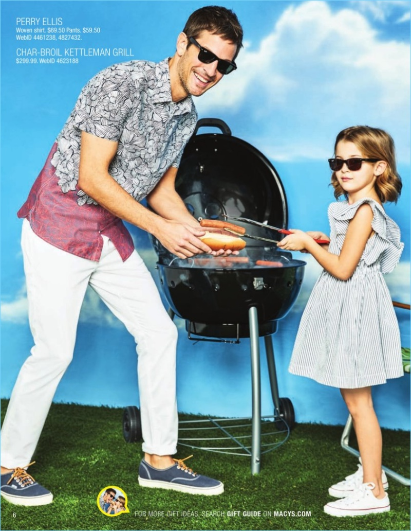 Kelly Rippy is ready to barbecue in a patterned Perry Ellis shirt and pants $34.99.