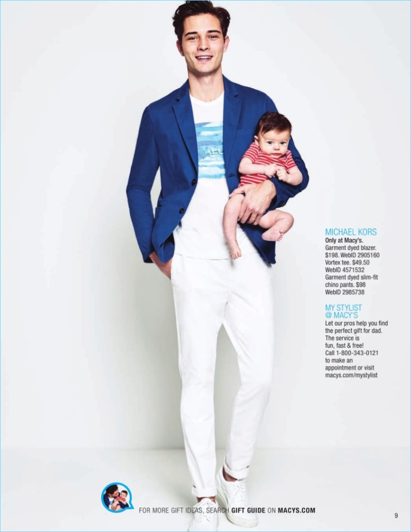 Francisco Lachowski is a smart vision in a Michael Kors sport coat $87.99, graphic t-shirt $20.99, and chinos $43.99.