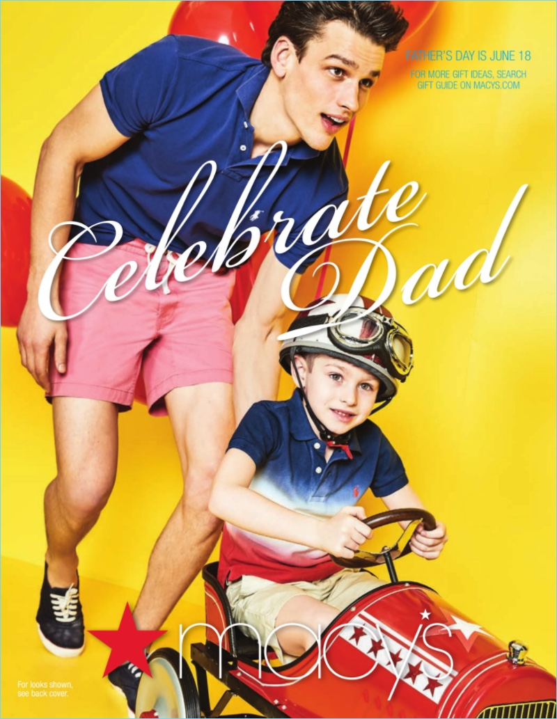 Covering Macy's Father's Day catalogue, Simon Nessman wears a POLO Ralph Lauren polo $59.99 and drawstring shorts.