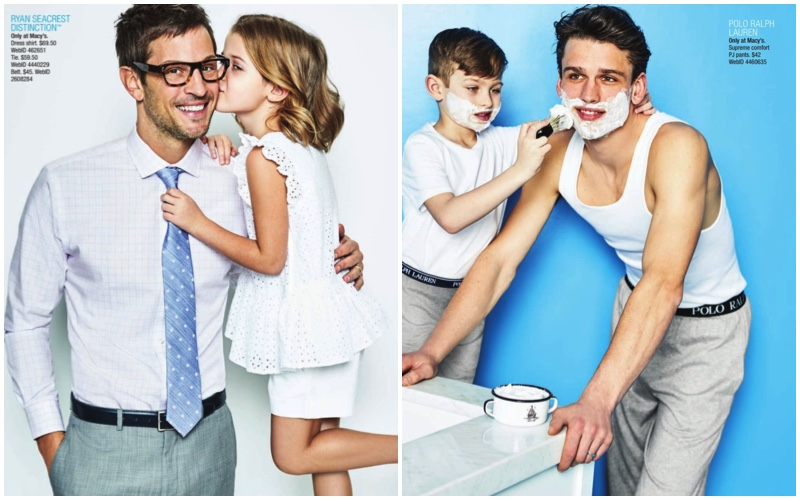Models Kelly Rippy and Simon Nessman come together for Macy's Father's Day 2017 catalogue.