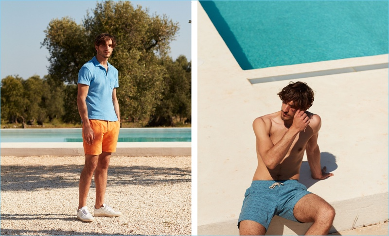 Left: Rodolphe Zanforlini sports an Orlebar Brown terry towel polo shirt $136, Frescobol Carioca tailored swim shorts $179, and white AMI sneakers $213. Right: Rodolphe wears Faherty swim shorts $131.
