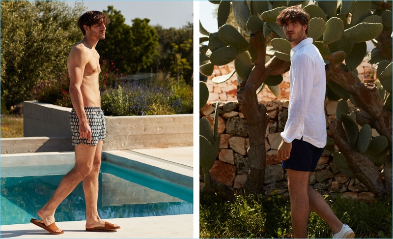 Left: Model Rodolphe Zanforlini rocks Timo swim shorts $141 with Saint Laurent suede slides $481. Rodolphe wears white AMI sneakers $213 with an Orlebar Brown linen shirt $208 and mid-length swim shorts $208.