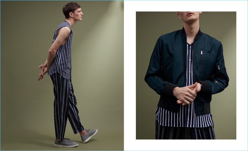 Left: Yannick Abrath wears a Lanvin striped sleeveless shirt $587, Tomorrowland trousers $468, and Adidas Stan Smith sneakers $125. Right: Yannick sports a Paul Smith bomber jacket $950, Lanvin striped sleeveless shirt $587, and Tomorrowland trousers $468.