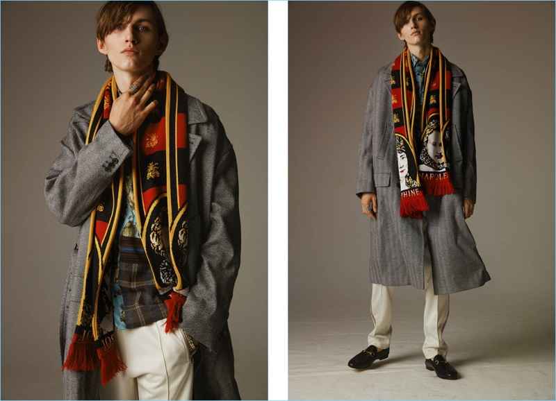 Sean (Boom Models) makes a statement in a Y/Project Napoleon and Josephine jacquard knit scarf. He also dons a herringbone wool coat with Gucci leather loafers $650.