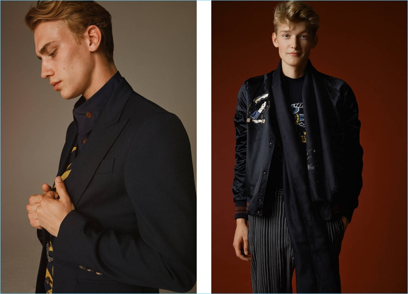 Left: Frederik Westendorp dons fall tailoring for Luisaviaroma. Right: Frank Moltmaker channels a retro vibe in key takeaways such as the bomber jacket, which is updated with embroidery.