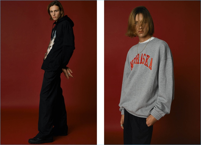 Sean M. (Boom Models) taps into nineties style with streetwear-inspired pieces such as a Nebraska sweatshirt from Off-White.