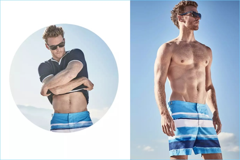 Model Rodrigo Calazans wears a polo shirt and blue striped swim trunks $275 by Orlebar Brown.