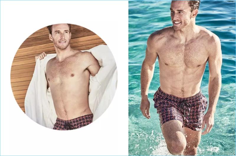 Ready for summer, Rodrigo Calazans rocks Vilebrequin fish print houndstooth swim shorts $250.