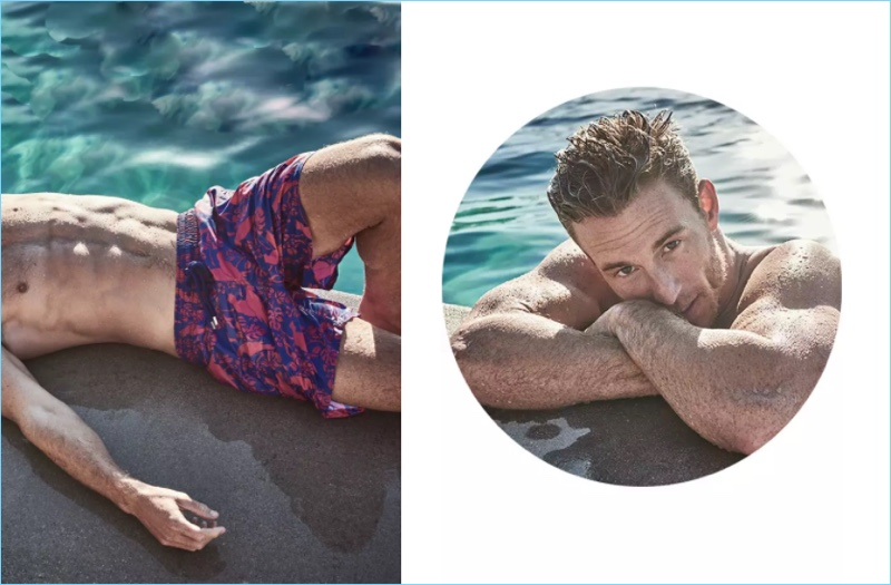 Sunbathing, Rodrigo Calazans wears Vilebrequin indigo/fuchsia swim trunks $250.