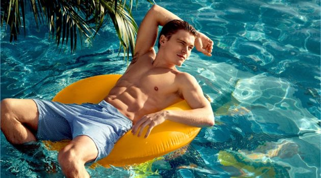 Taking in a relaxing summer day, Oliver Cheshire stars in NLY Man's summer 2017 campaign.