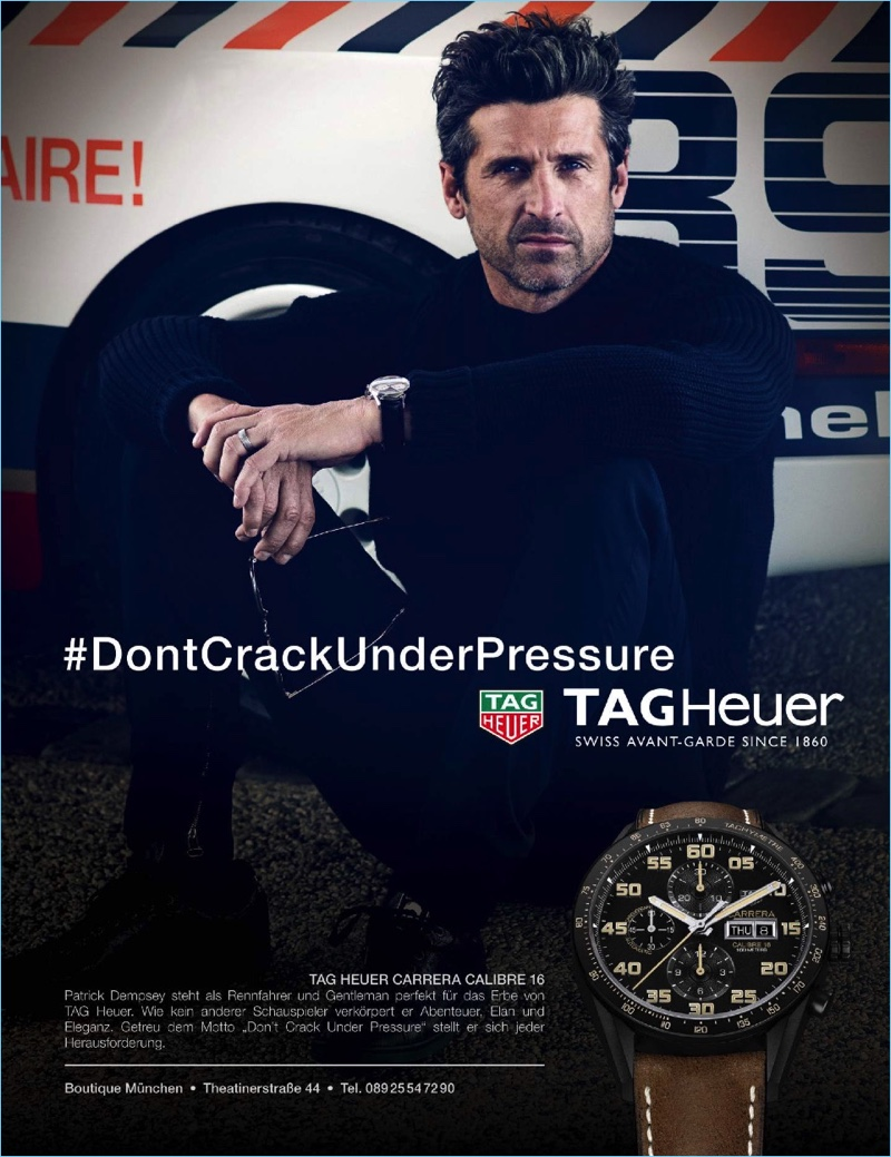 No stranger to fast cars, Patrick Dempsey stars in TAG Heuer's advertising campaign.