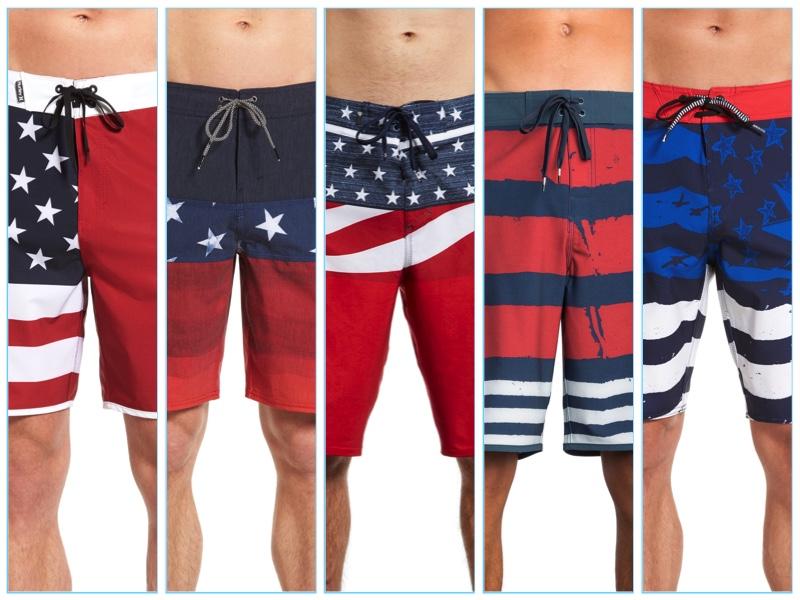 Men's Patriotic American Flag Swim Shorts