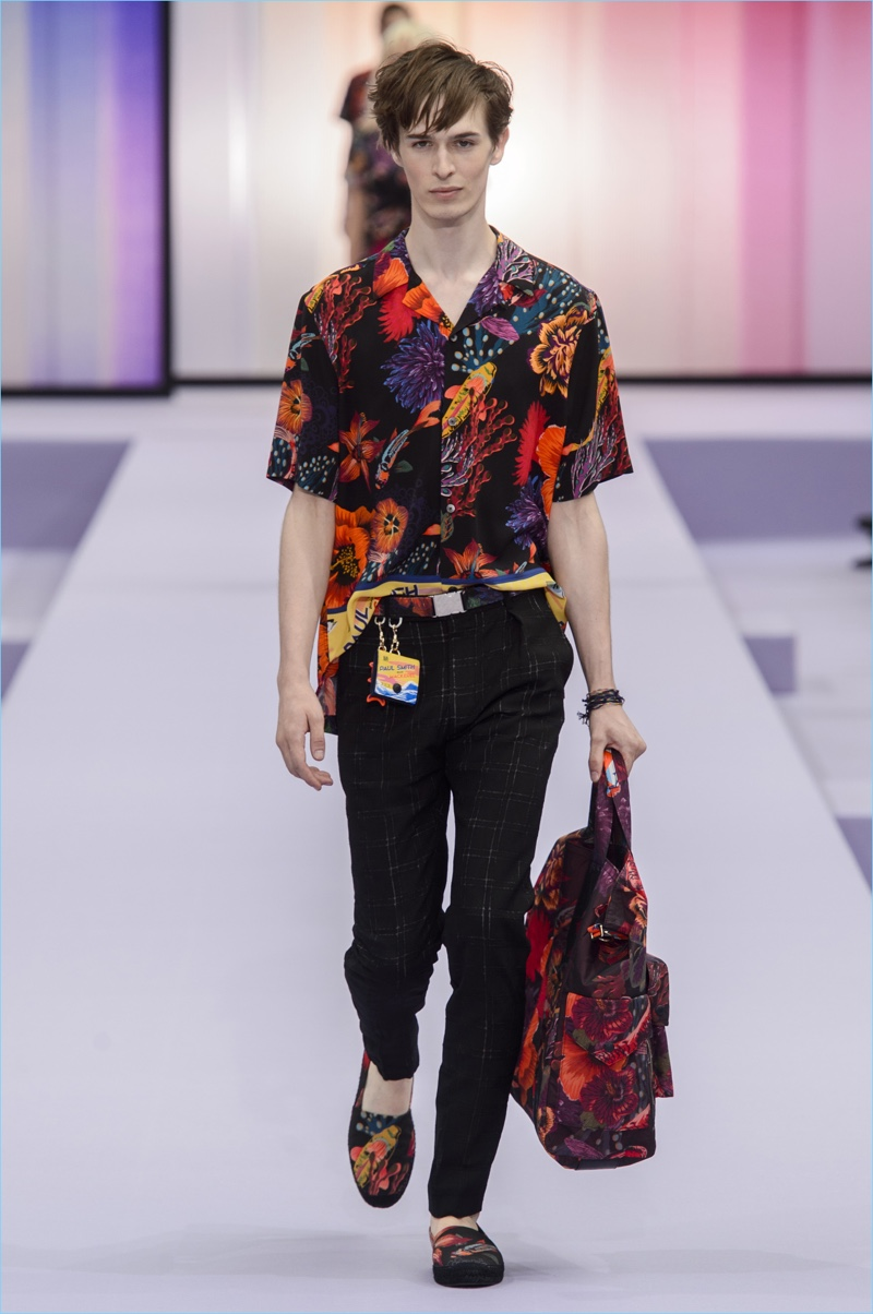 afa4e6a5b9d Paul Smith unveils a Hawaiian shirt as part of his spring-summer 2018  collection.