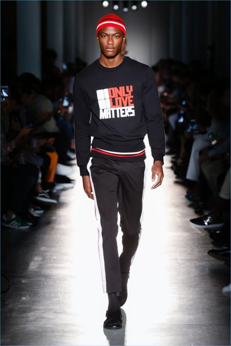 Hamid Onifade takes to the catwalk for Port 1961's spring-summer 2018 runway show.