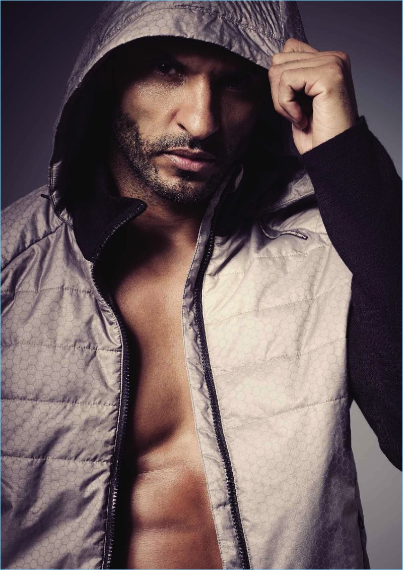 Actor Ricky Whittle wears a hoodie by Porsche Design.