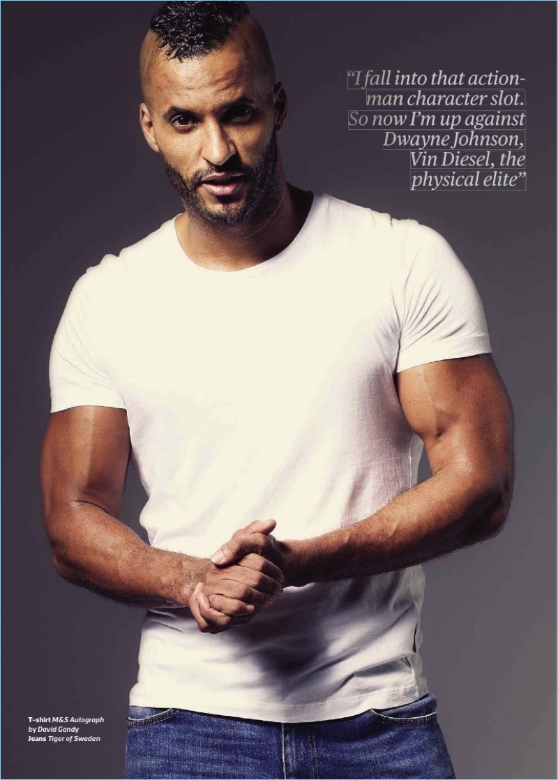 Front and center, Ricky Whittle wears a M&S Autograph by David Gandy t-shirt with Tiger of Sweden jeans.