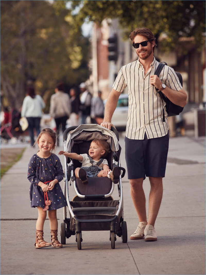 Ryan Burns and his daughters star in Lord & Taylor's Father's Day campaign.
