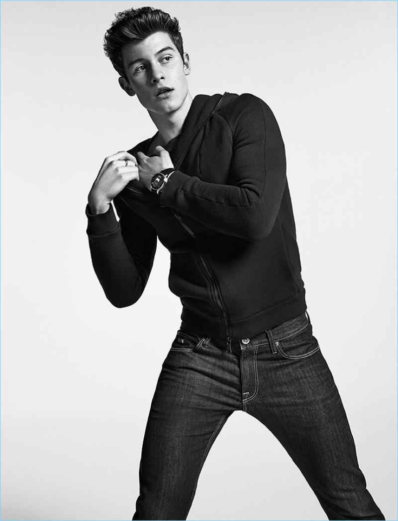 Sabine Villiard photographs Shawn Mendes for Emporio Armani's Connected campaign.