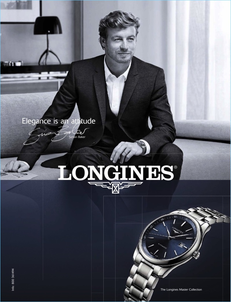 Simon Baker fronts Longines sophisticated timepiece campaign.