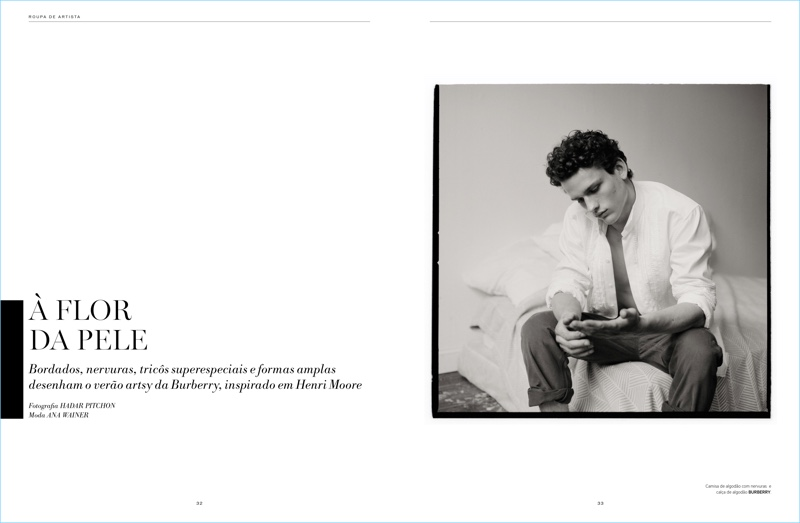 Canadian model Simon Nessman sports Burberry for an editorial in L'Officiel Hommes Brasil.