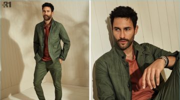 Reuniting with Simons, Noah Mills wears a LE 31 t-shirt, utility jacket, cargo pants, and Birkenstock sandals.